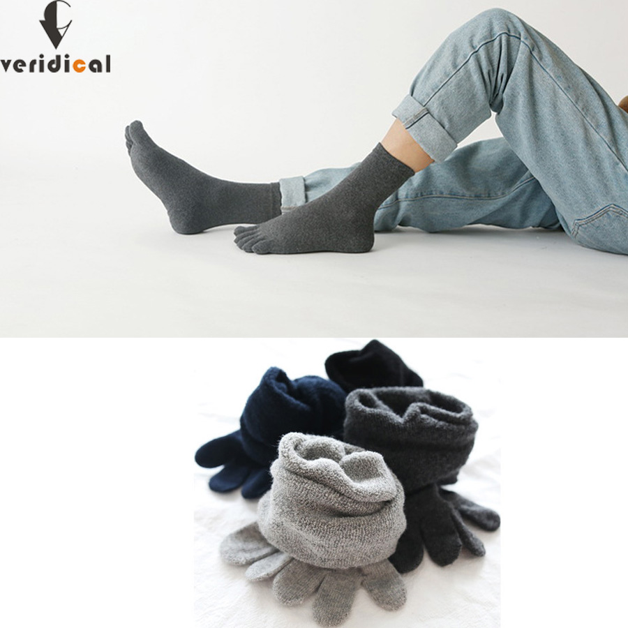 VERIDICAL Cotton Terry Sock Toes Thick Winter Five Finger Socks Solid Man Short Socks Thermal Warm Socks Meia 5 Pairs/lot