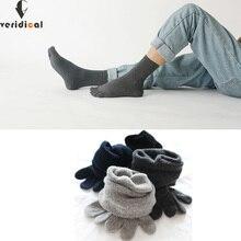 Veridical/Хлопковые махровые носки толстые зимние носки с пятью пальцами однотонные мужские короткие носки теплые носки Meia, 5 пар/партия