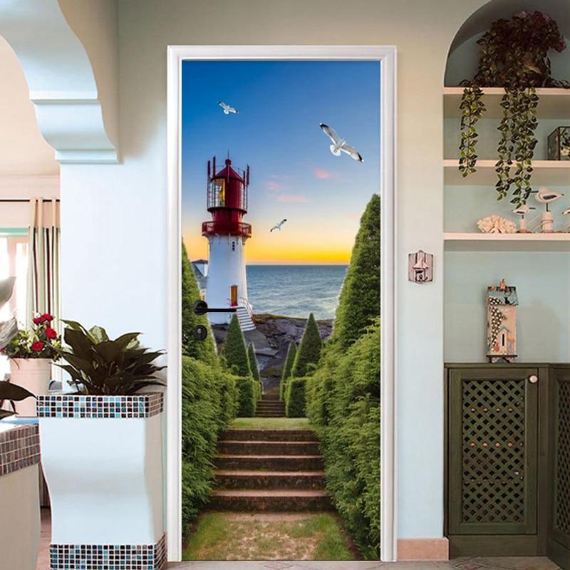PVC Waterproof Door Sticker 3D Ladder Sea Lighthouse Wallpaper Living Room Bedroom Door Decals Poster Self-Adhesive 3D Stickers