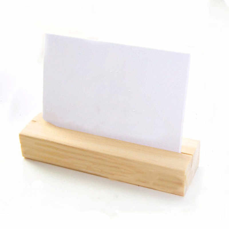 Natural Wood Photo Holder Memo Clips Business Card Holder Clamps Stand Note Folder Card Desktop Message Wooden Message Folder