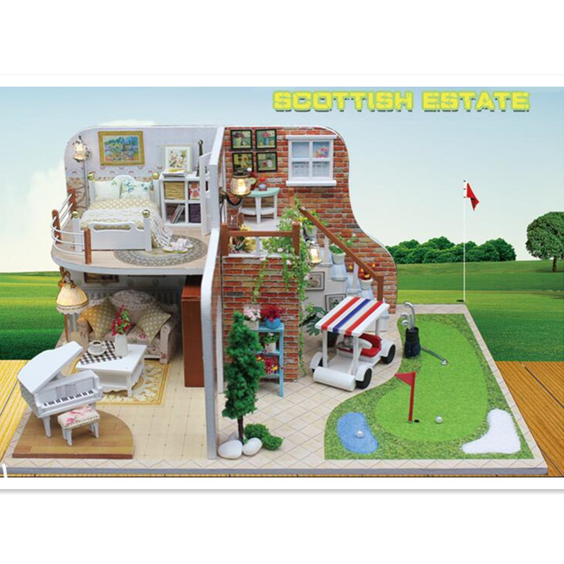 DIY Doll House Play Golf Wooden Miniatura Doll Houses Miniature Dollhouse With Furniture Kit LED Lights Birthday Gifts for Kids
