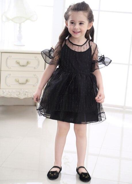 e6fff7a015 Ropa barata niños Niñas tul blanco Vestidos malla manga corta niños niña  ropa bebé vestido negro