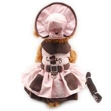 Милое роскошное платье-пачка принцессы с бабочкой, комплект с юбкой, одежда для маленькой собаки, рубашка, костюм, платье для собаки+ шляпа+ трусики+ Leash1