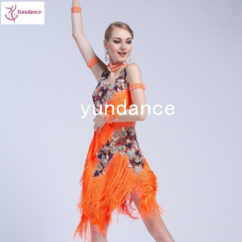 Latin Cha Cha Samba Dress Orange With Fringes Latin Dance Dress Tailor Made L-16528