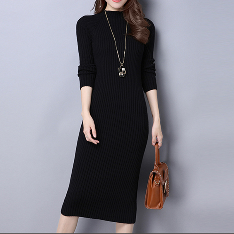 New Warm Women long sweater dress 2018 Spring and autumn sexy slim Bodycon Dresses Elastic Skinny Dress Knitted Dress vestidos long sleeve sweater dress solid knitted side slit high waist vestidos women spring bodycon sexy dress midi dress female clothing