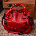 high quality women's brand fashion geunie cow leather rivets big handbag totes shoulder crossbody bag red black green color