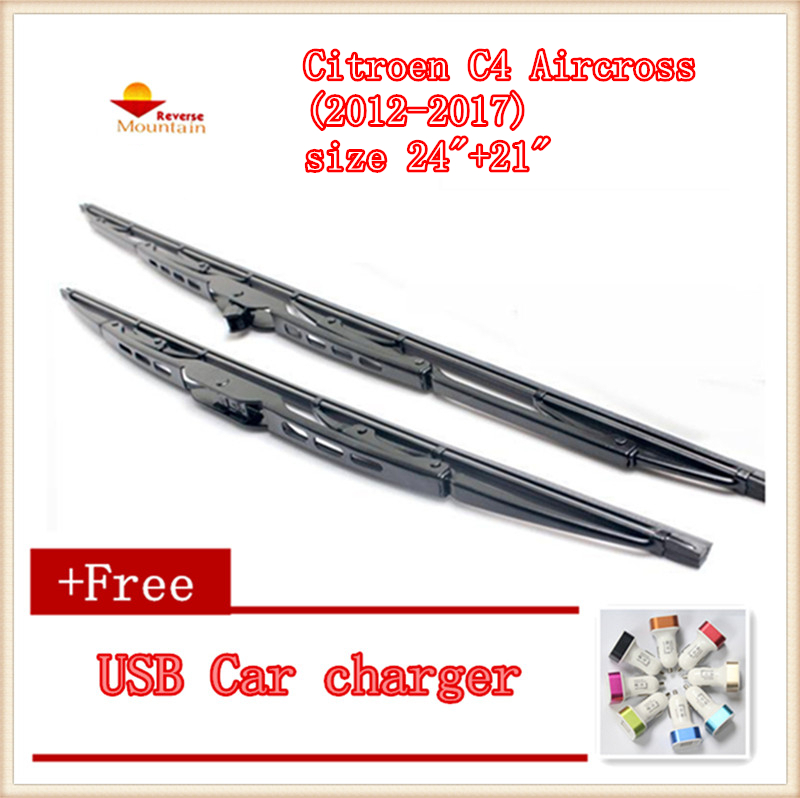 "2pcs/lot Car Windshield Wiper Blade U-type Universal For Citroen C4 Aircross (2012-2017),size 24""+21"" Rich In Poetic And Pictorial Splendor"