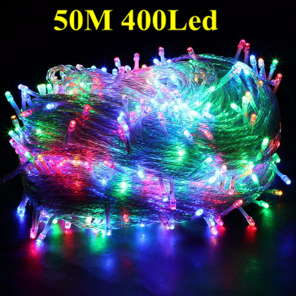 multi color 50m 400 led bulbs fairy string light outside hanging windows garden christmas party wedding holiday decoration 220v in led string from lights