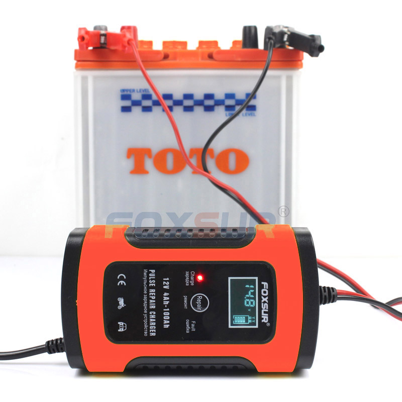 FOXSUR Fully Automatic font b Battery b font Charger 110V 220V 12V 5A Smart Fast Power
