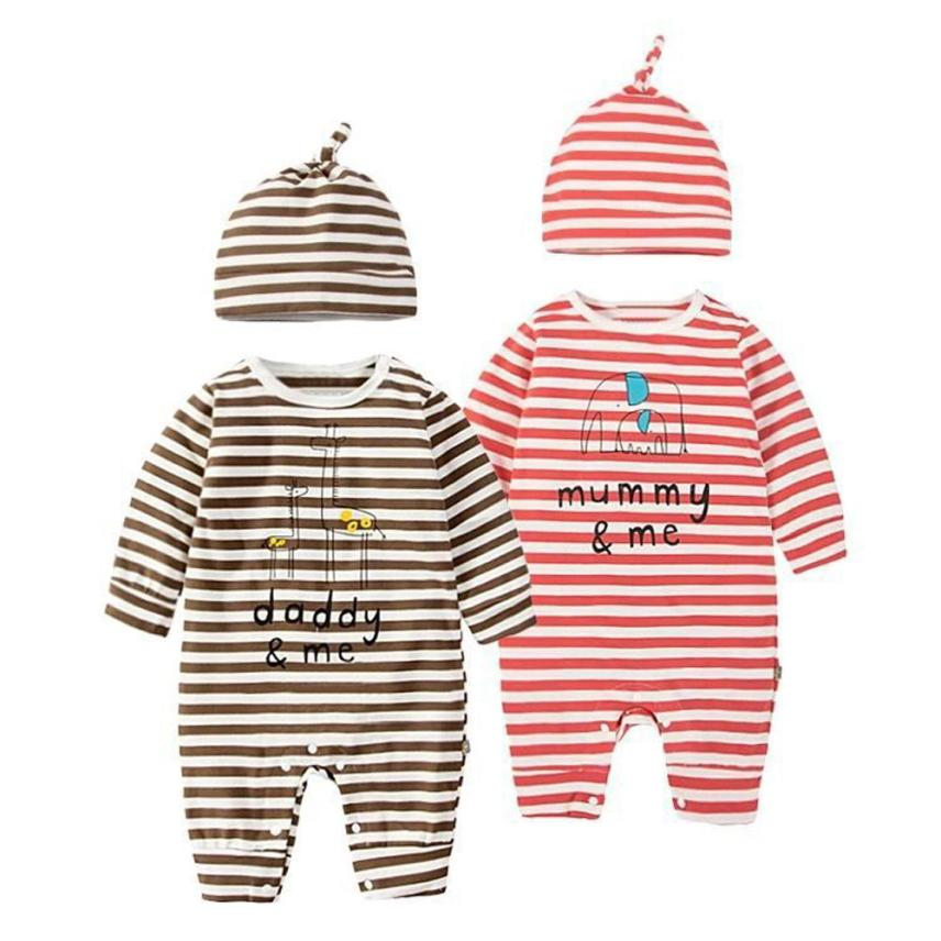Baby Cartoon Elephant Stripe Rompers Cute Infant Newborn Boys Girls Long Sleeve Clothes Soft Jumpsuits Toddler Costumes 17Nov30