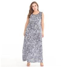 2018 Fashion Dress Summer Sleeveless Big Size Casual Loose Print Beach Dresses  Plus Size Women Clothing bbd4d08e908f