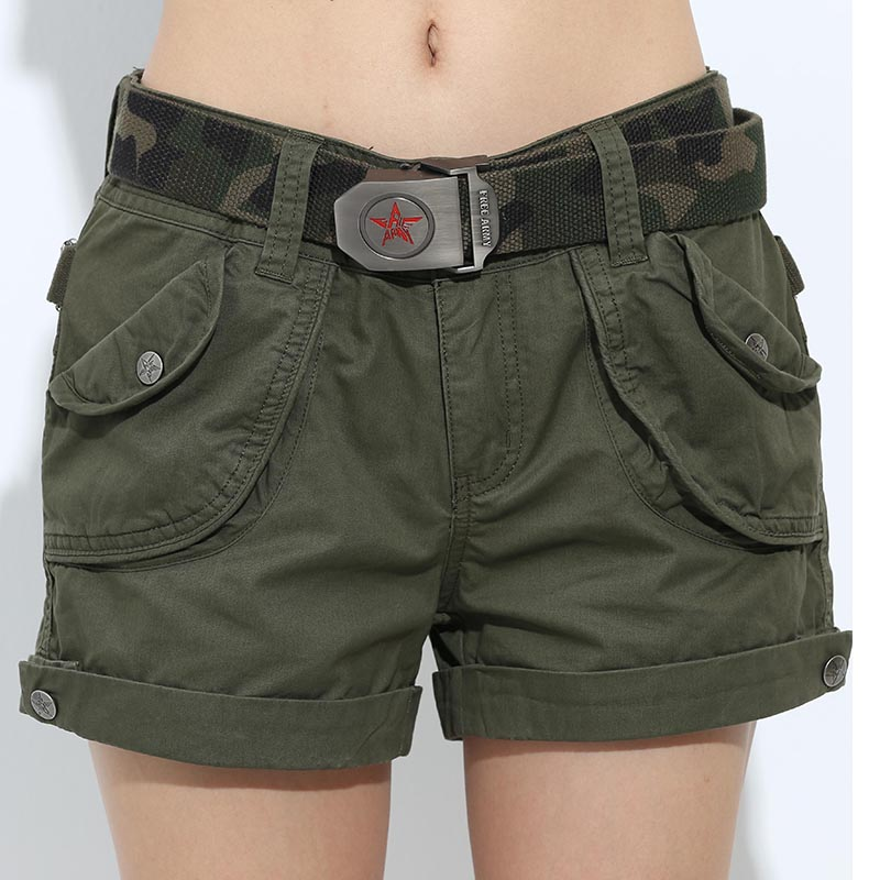 Brand Laides Shorts Kvinder Casual Shorts Løse Lommer Lynlås Military Army Green Large Summer Ladies Shorts Outdoors Plus Size