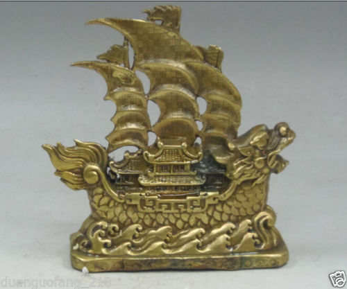 China Brass Old Copper Plain Sailing Dragon Boat Ship Barque