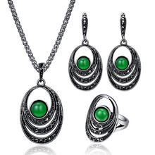 Винтаж Черный Кристалл выдалбливают Овальный кулон ожерелье наборы ювелирных изделий Модные античные полимерные драгоценные камни для женщин девушек вечерние ювелирные изделия