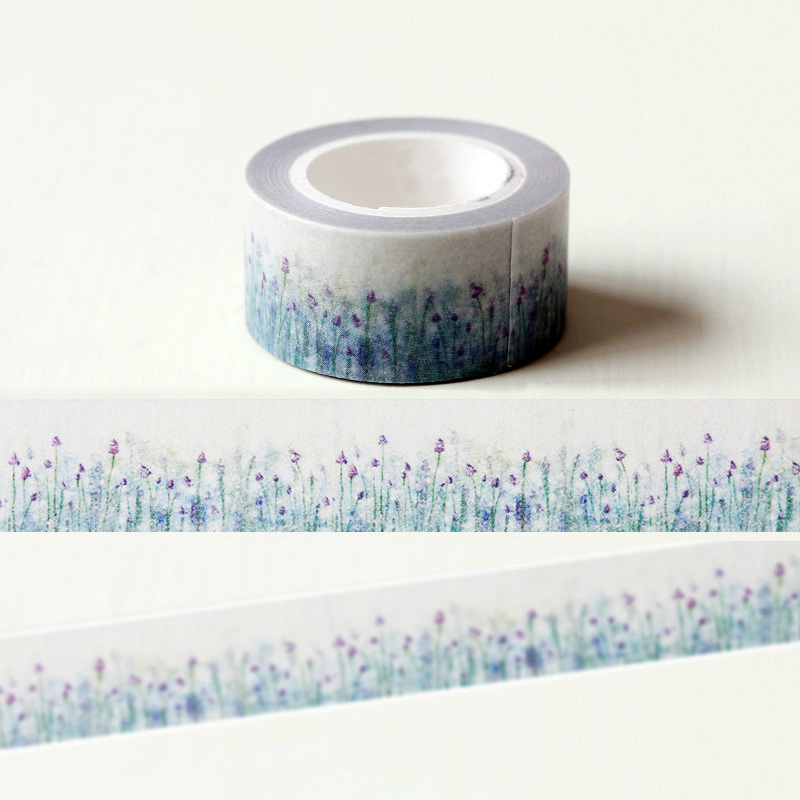 1 Pc / Pack Beautiful Lavender Flower Washi Paper Masking Tapes For Scrapbooking Tape Diy Stickers Crafts Gift Wrapping Sticker