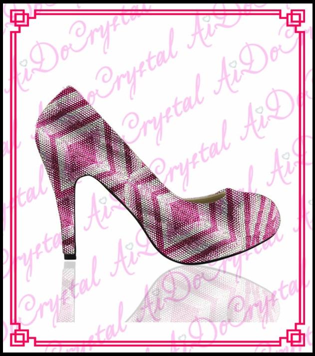 Aidocrystal new fashion pattern closed round toe pink comfort heel women wedding crystal shoes prom dress high heels