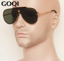 GOQI 2018 ikonik tarzı düz büyük metal 57 MM polarize lens, klasik vintage erkekler sürüş ve seyahat güneş gözlüğü, erkekler gafas