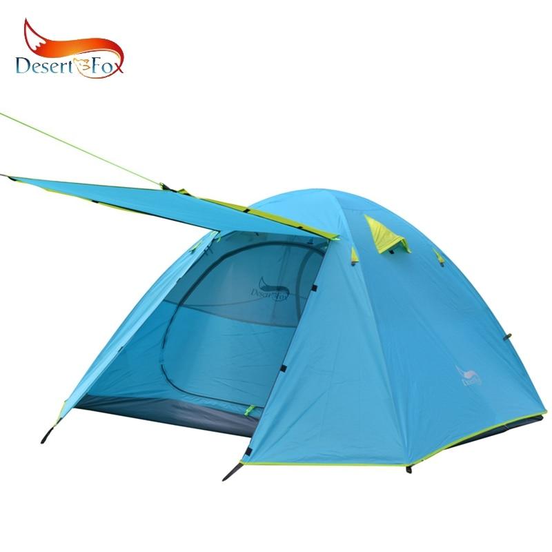 Tente de Camping de sac à dos de désert et de renard, tente en aluminium robuste légère de la Double couche 4 saisons imperméable élevée de poteau de 2-3 personnes