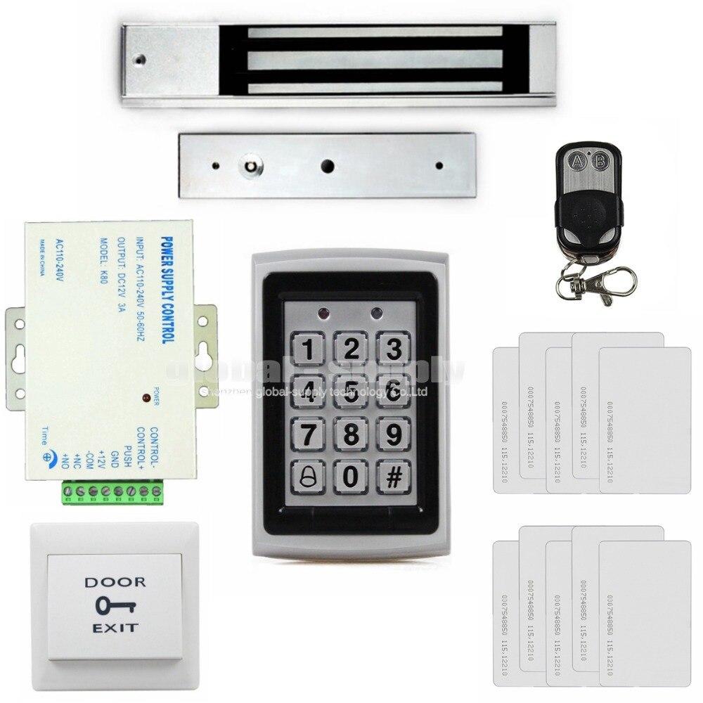 DIYSECUR 125KHz RFID Keypad Door Access Control Security System Kit + 280kg Magnetic Lock +  Power Supply +Remote Control 7612