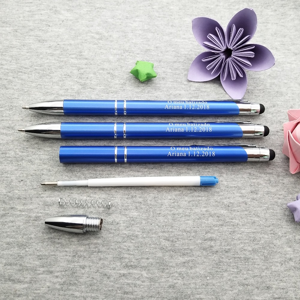 NEW customized wedding ceremony Nice writing stylus pens In 10 colors customized free with any logo text words 20pcs lot in Party Favors from Home Garden