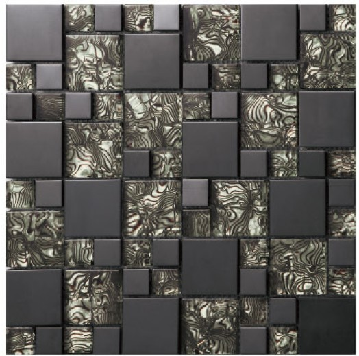 Crystal glass black mirror metal mosaics stainless steel for Silver kitchen wallpaper