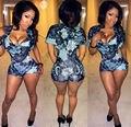 Calções calções de moda estilo europeu mulheres impresso bodycon sexy clube rompers mulheres macacões 7335