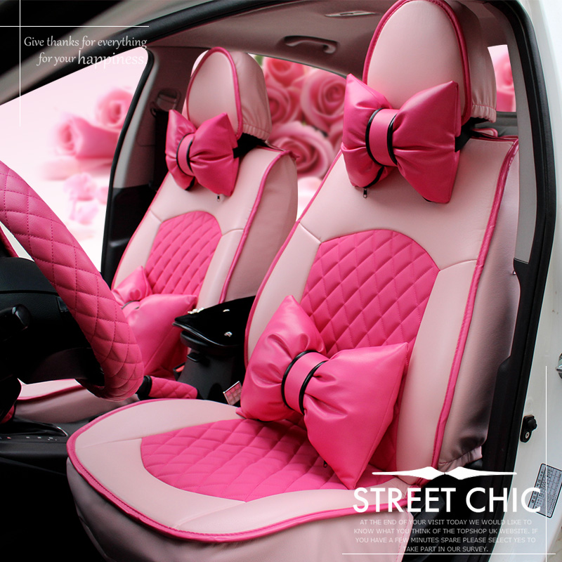 girl 39 s woman 39 s cute brand pu leather fashion pink universal car seat cover in automobiles seat. Black Bedroom Furniture Sets. Home Design Ideas