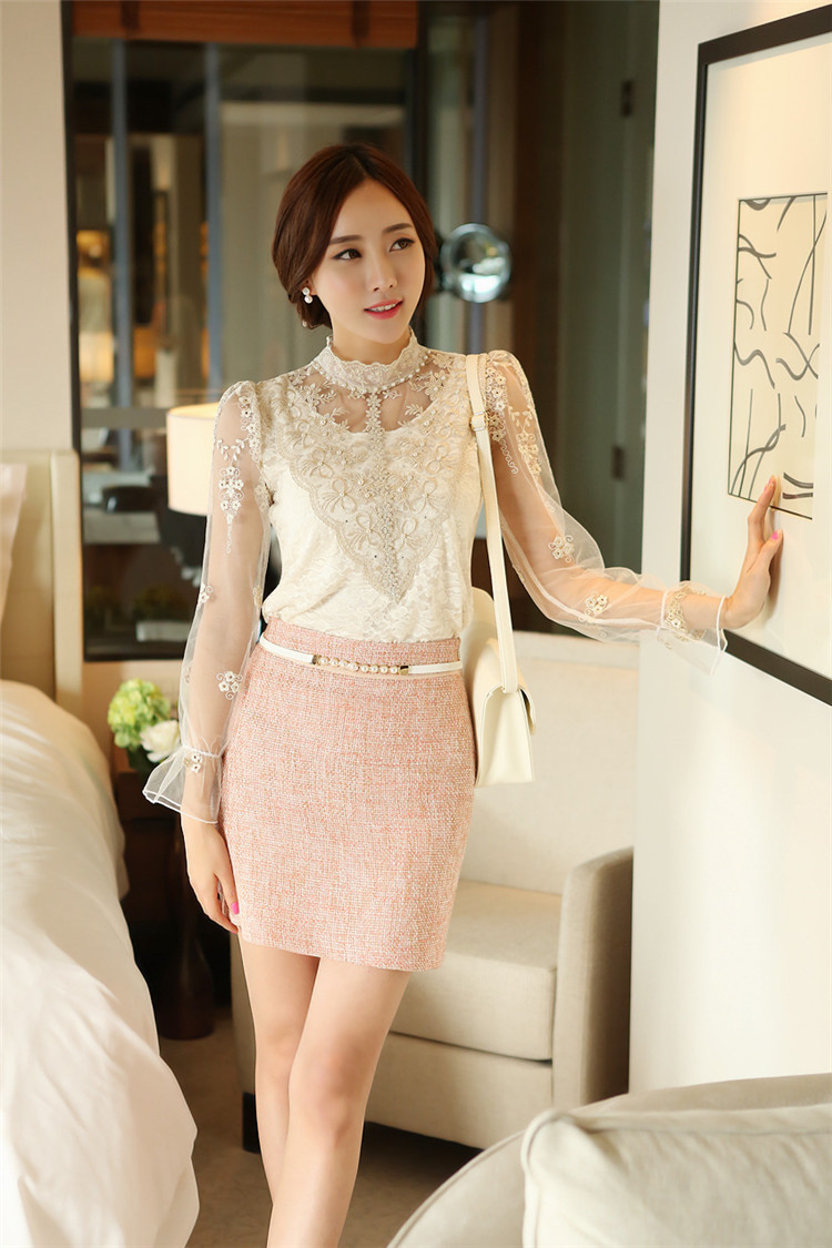 2016 new fahsion Spring summer long-sleeved Women lace blouses Slim Elegant Plus size sexy shirt top 980F35