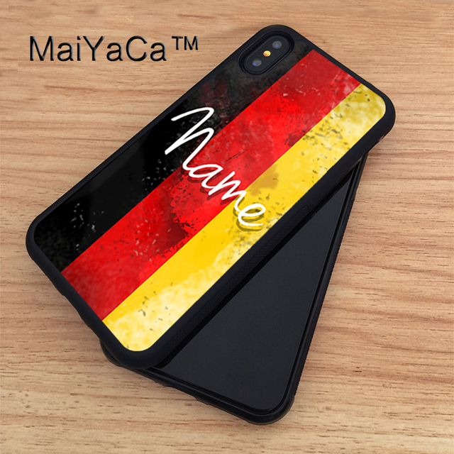super popular 63b16 d86d0 US $4.09 10% OFF|MaiYaCa German national flag of Germany personalised name  Case For iPhone X Soft TPU PC Back Case Coque Funda Cover for iphone X-in  ...