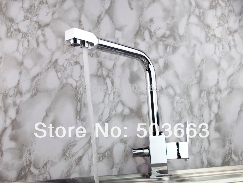 Two Spout Swivel 360 Chrome Brass Kitchen Spout Vessel Basin Sink Single Handle Deck Mount MF-445 Mixer Tap Faucet fashion swivel chrome brass kitchen faucet spout vessel basin sink double handles deck mounted mixer tap mf 451 mixer tap faucet