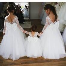 0fe31232bd Sheer francuski alecon koronki biały kwiat w kolorze kości słoniowej dziewczyna  sukienka z długie rękawy maluch dzieci pierwsza .