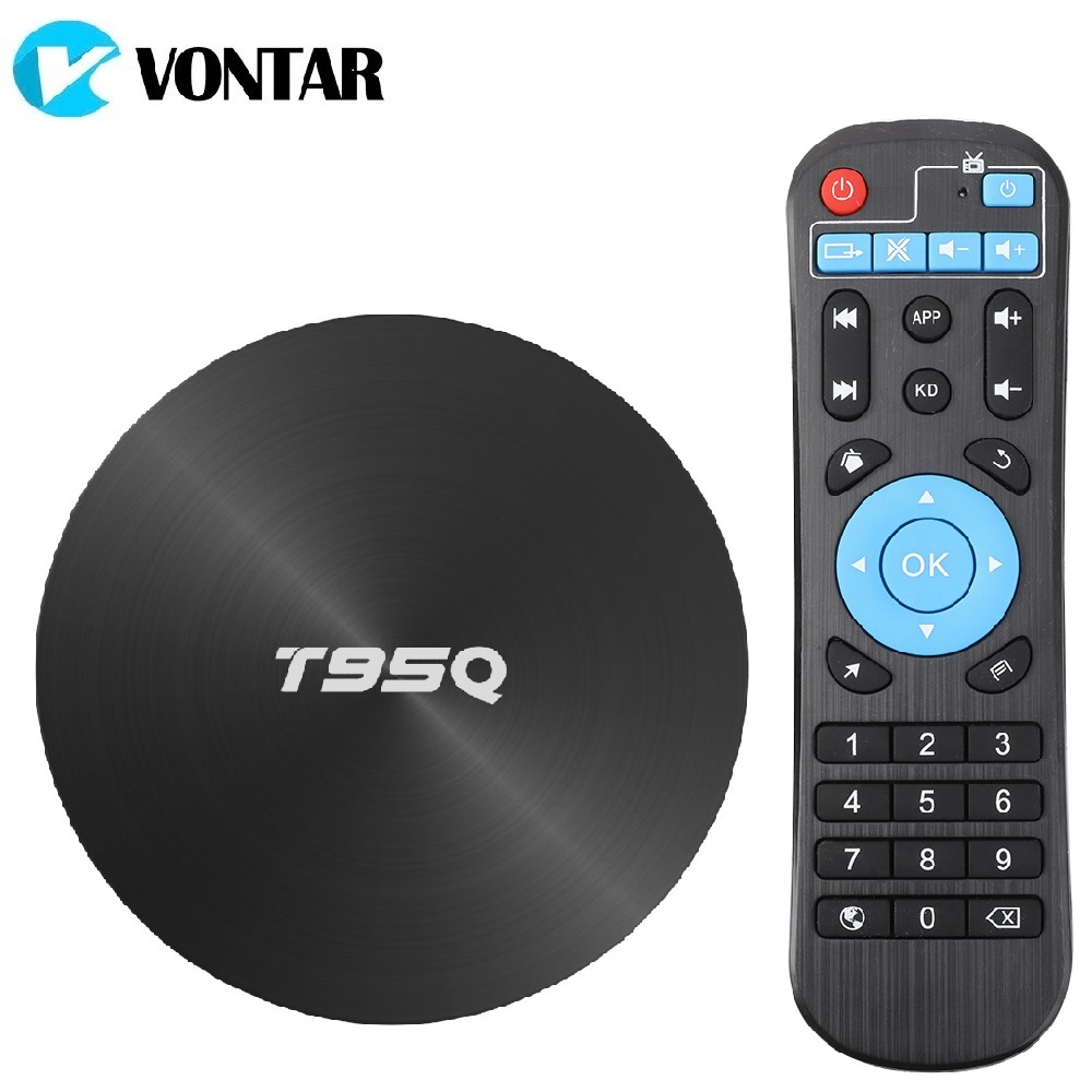 T95Q 4 GB 64 GB ТВ BOX Android 8,1 LPDDR4 Amlogic S905X2 4 ядра 2,4G и 5 ГГц Wi-Fi BT4.1 1000 м H.265 4 K Media Player