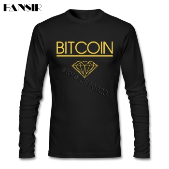 Bitcoin Diamond Long Sleeve Cotton T Shirt Men