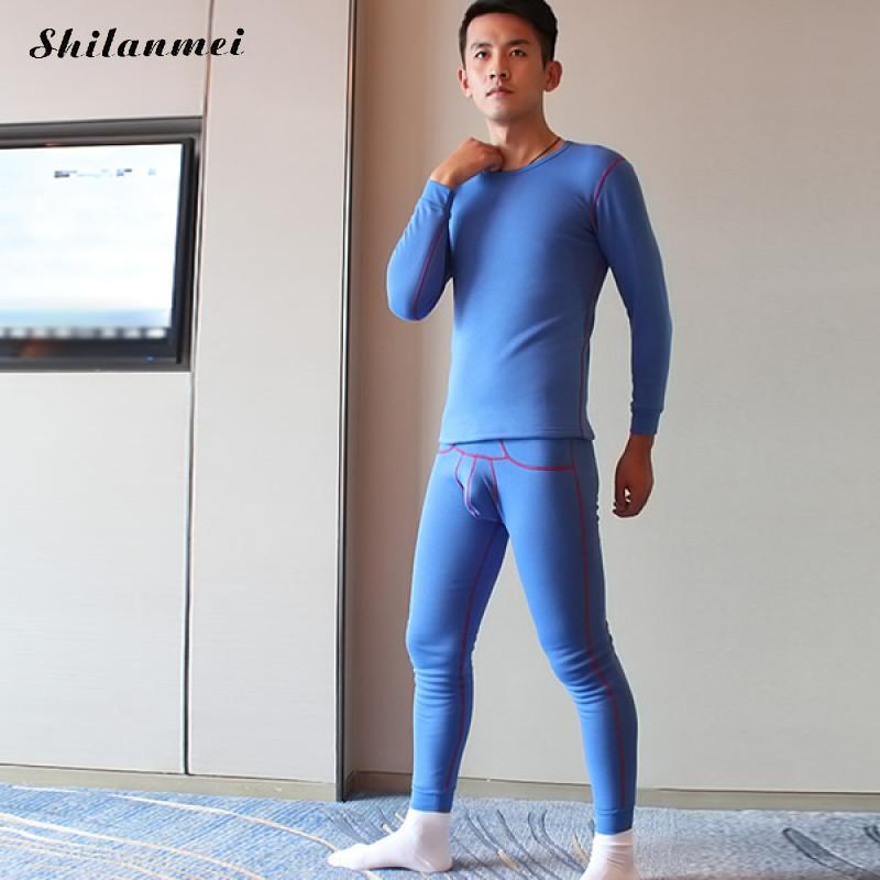 Winter Men Cotton Thermal Warm Underwear Sets Long Johns Sets Thermos termica Cueca Pajamas Mens Sexy tights lange unterhosen XL