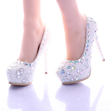 2016 New Pearl Heart AB Color Diamond Wedding Shoes High Heels 14cm Lighter Pointed Bridal Shoes Waterproof Single Flowers Pumps