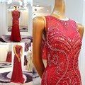 2017 Sweetheart  Beading Sequins Sheer Back Evening Dresses Custom Made Dubai Evening Dress Floor  Length Mermaid Dress CH33