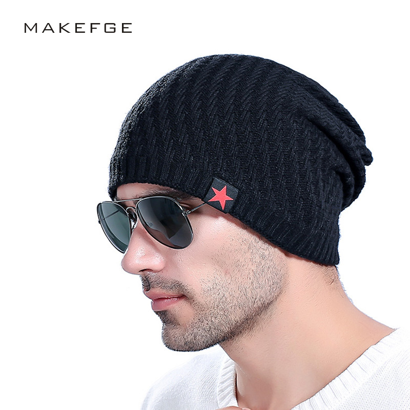 2017 Fashion Casual Beanies for Men Knitted Winter Hat  Solid Color Hip-hop  Knitted Skullies Bonnet  Cap Gorro  warm boy hats hot winter casual beanies hats for women knitted solid hip hop slouch skullies bonnet cap hat gorro baggy warm beanies femme