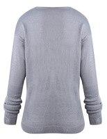 2018 осень женская мода цвет личности одноцветное кроссовер свитер повседневное свободные с длинными рукавами для женщин свитер cj0494