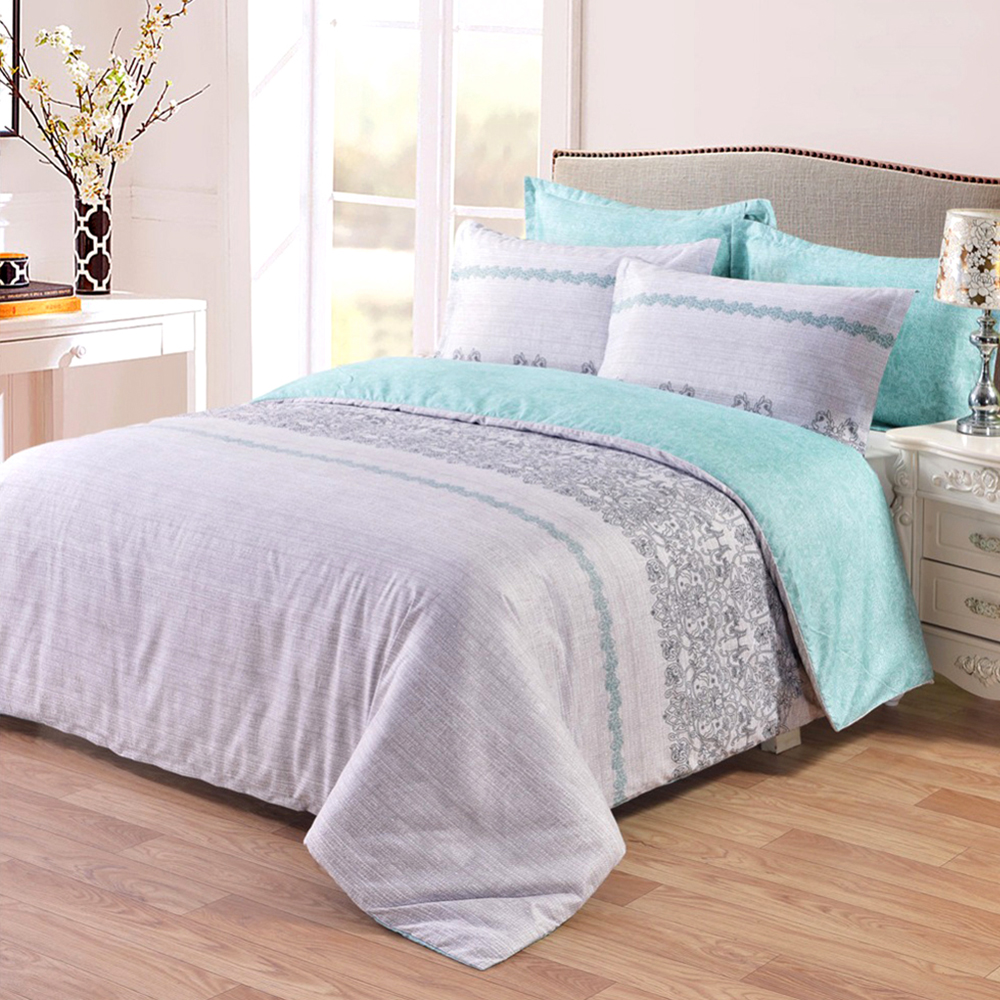 New 3pcs Duvet Cover Set Reversible With Gray Grey And