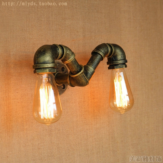 Retro Water Pipe Vintage Wall Lamp With 2 Lights Fixtures Wandampen ...
