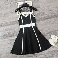 2018 Nueva Primavera Verano Moda Sexy Cuerpo de la Mujer de Punto Sling Mini Vestido de Una Línea de Partido Blanco Negro Rojo Sin Mangas de La Correa vestido