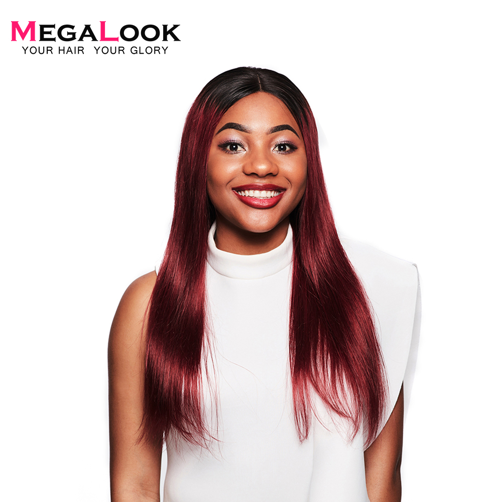 Megalook 1B 99j Lace Front Human Hair Wigs With Baby Hair 210 Density Straight Remy Hair