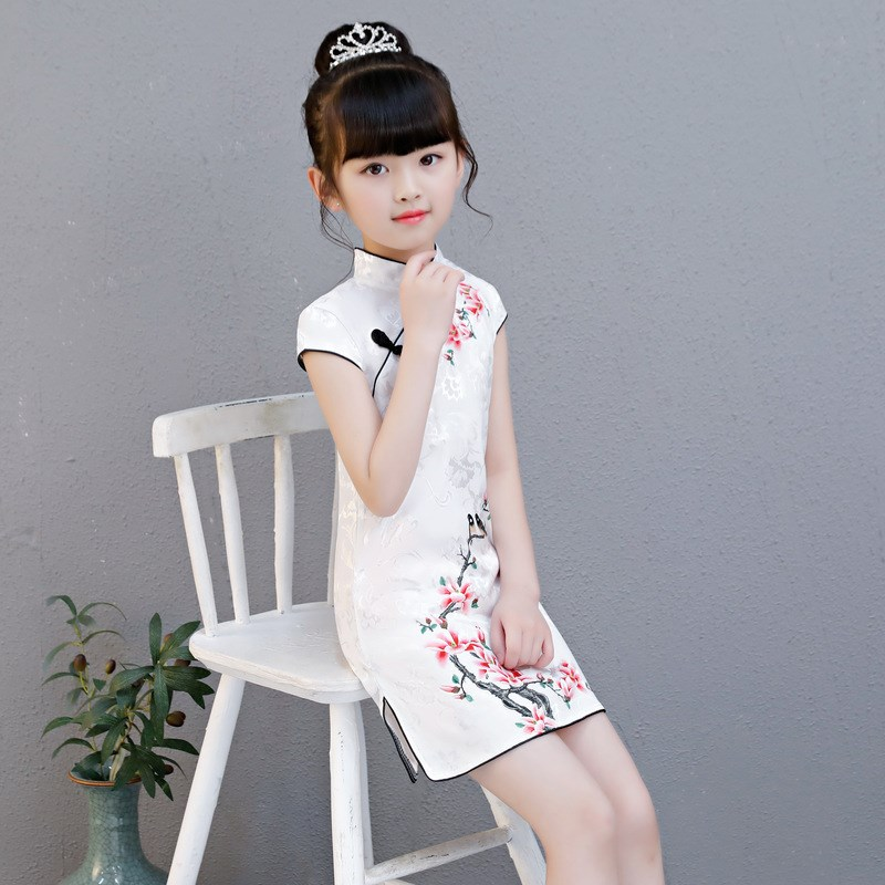 Lovely Chinese Kid Child Girl Floral Printing Cheongsam Dress Girls Qipao Cotton Dress New Year Gift Party Evening Wear