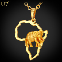 font b U7 b font 2016 font b Africa b font Elephant Necklace Gold Plated