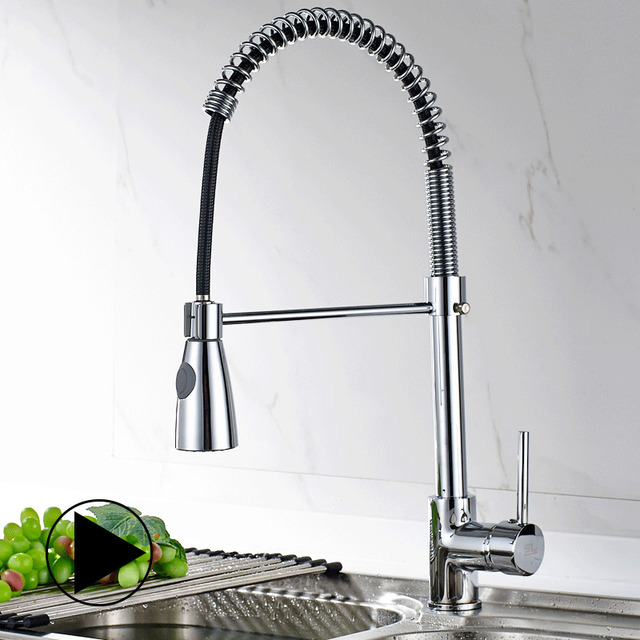 Fapully Kitchen Sink Faucet Pull Out Brushed Nickel Faucet Torneira All Around Rotate Swivel Kitchen Mixer Tap 190-33C
