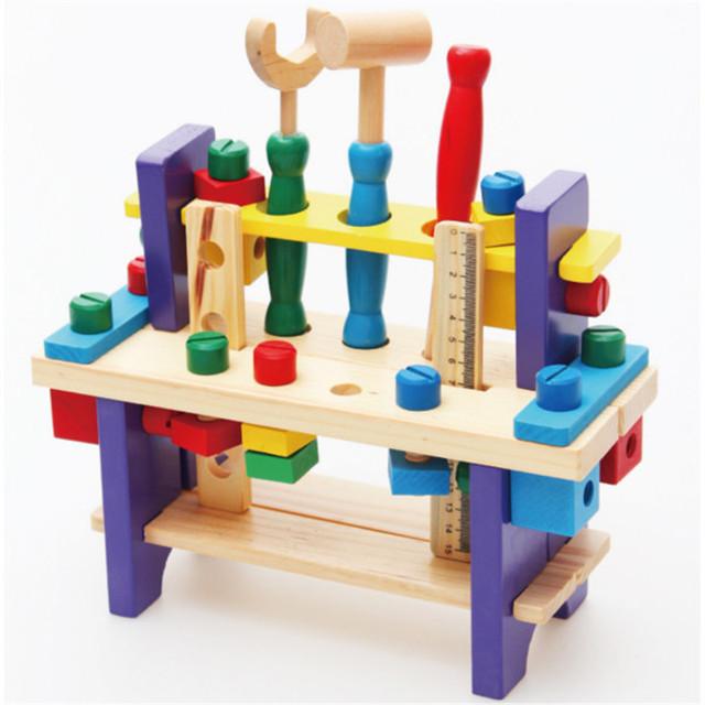 Auténtico multifunción desmontaje herramienta de juegos de herramientas de simulación De Madera juguetes de madera combinación de tuerca de Tornillo de banco de trabajo