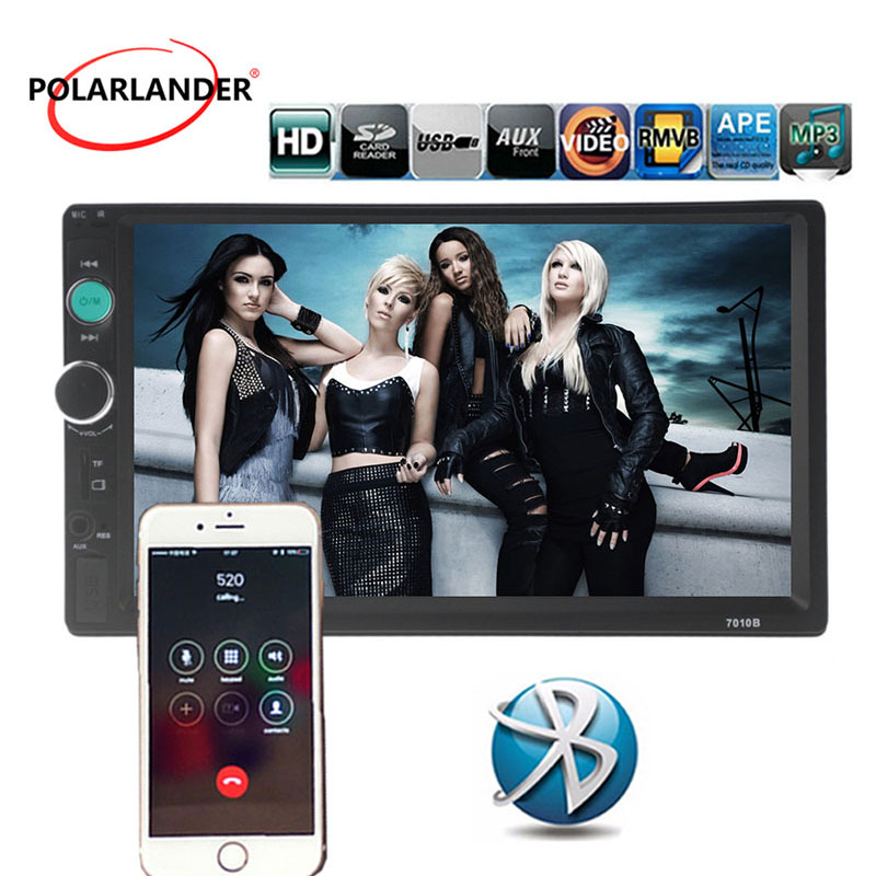 Car radio USB/TF/AUX 7 background lights Bluetooth Touch Screen hand-free Remote control <font><b>2</b></font> <font><b>Din</b></font> FM MP5 Player Stereo image