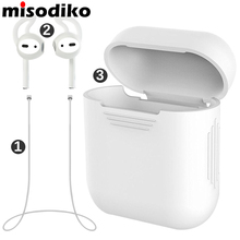 misodiko Pack of 3 Accessories for Apple AirPods, Silicone Protective Cover Pouch Case& Anti Lost Strap& Ear Cover Hooks, White(China)