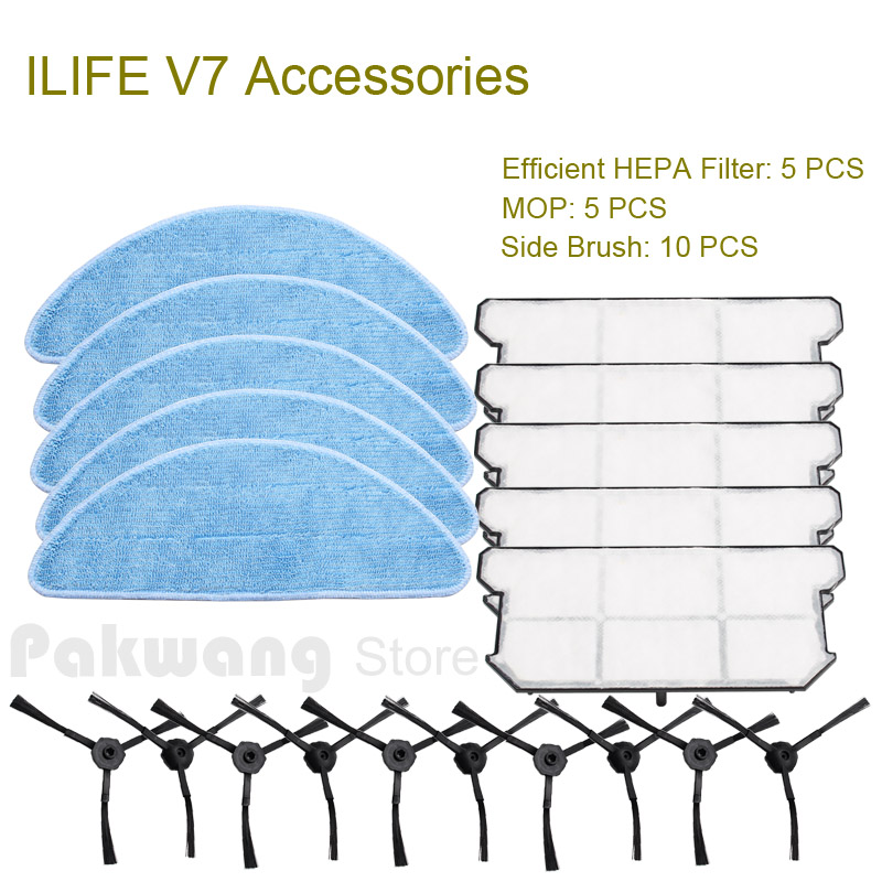 Original ILIFE V7 Mop 5 pcs Efficient HEPA Filter 5 pcs and Side Brush 10 pcs V7 Robot Vacuum Cleaner Accessories original ilife v7s primary filter 1 pc and efficient hepa filter 3 pcs of robot vacuum cleaner parts from the factory