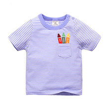 1-6T 100% Cotton Kids Baby T-shirt Tops Boys Girls Tee Striped T Shirt Children Tshirt Toddlers Baby Clothing 2017 Child Clothes autumn spring velvet striped soccer letter print baby boys sweat shirt tee kids tshirt children fashion tops boys sweatshirt